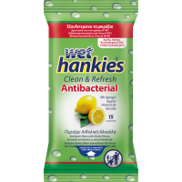 WET HANKIES Antibacterial Αλκοολούχα Μαντηλάκια ΛΕΜΟΝΙ 15 τεμ